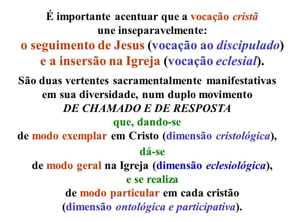 É importante acentuar que a vocação cristã une inseparavelmente: o seguimento de Jesus (vocação ao discipulado) e a insersão na Igreja (vocação eclesi