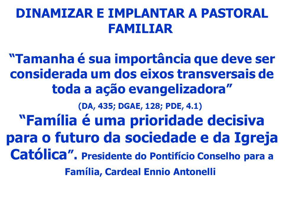 DINAMIZAR E IMPLANTAR A PASTORAL FAMILIAR Tamanha é sua importância que deve ser considerada um dos eixos transversais de toda a ação evangelizadora (DA, 435; DGAE, 128; PDE, 4.1) Família é uma prioridade decisiva para o futuro da sociedade e da Igreja Católica.
