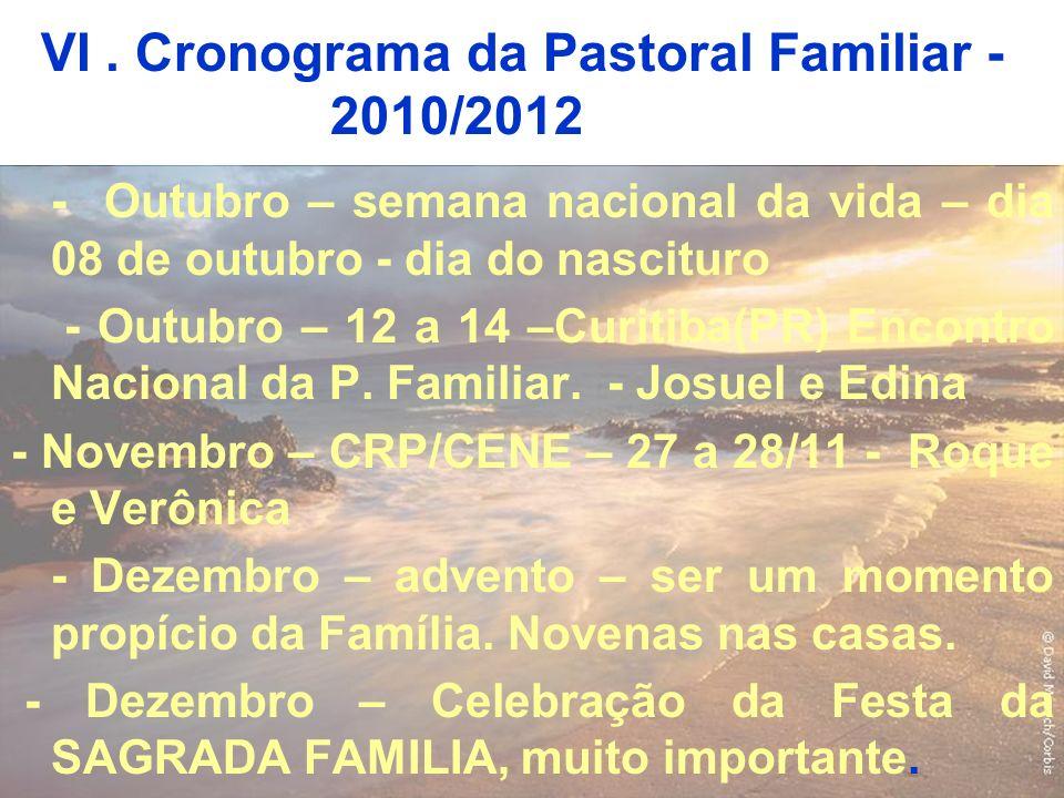 VI. Cronograma da Pastoral Familiar - 2010/2012 - Outubro – semana nacional da vida – dia 08 de outubro - dia do nascituro - Outubro – 12 a 14 –Curiti