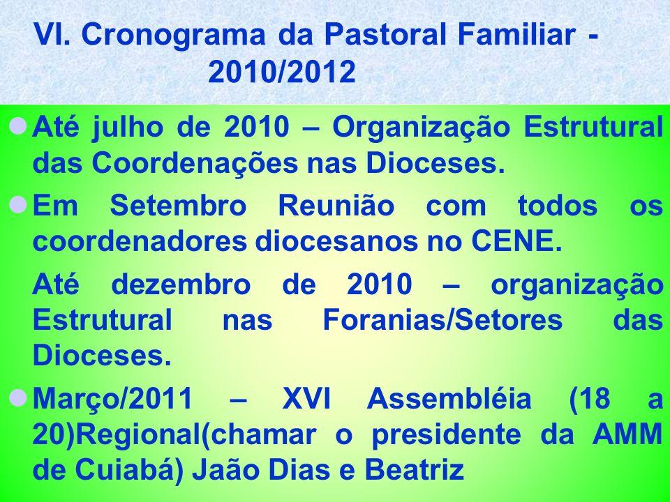 VI. Cronograma da Pastoral Familiar - 2010/2012 Até julho de 2010 – Organização Estrutural das Coordenações nas Dioceses. Em Setembro Reunião com todo