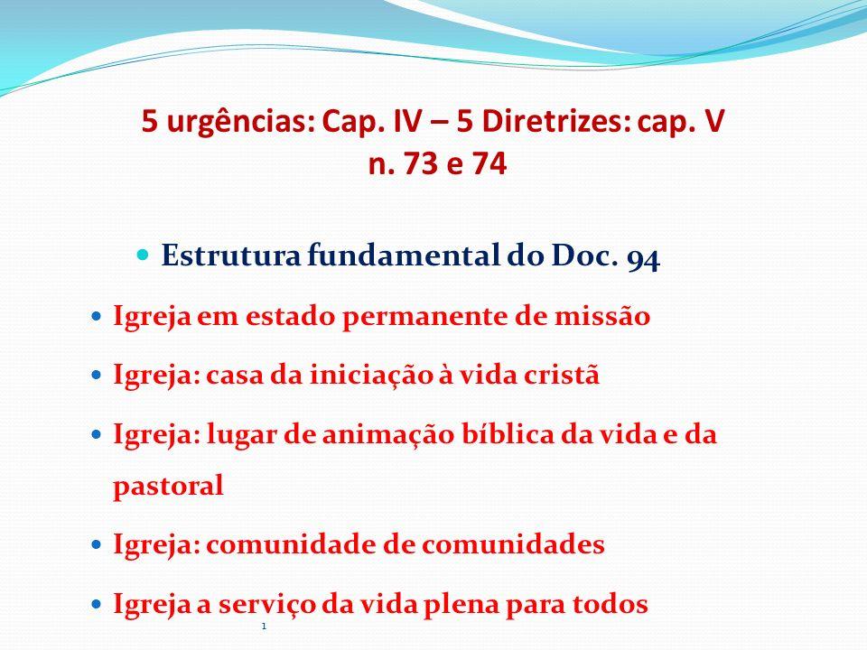 5 urgências: Cap. IV – 5 Diretrizes: cap. V n. 73 e 74 Estrutura fundamental do Doc. 94 Igreja em estado permanente de missão Igreja: casa da iniciaçã