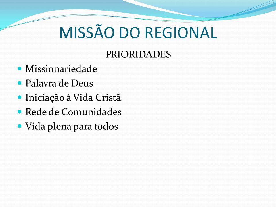 MISSÃO DO REGIONAL PRIORIDADES Missionariedade Palavra de Deus Iniciação à Vida Cristã Rede de Comunidades Vida plena para todos