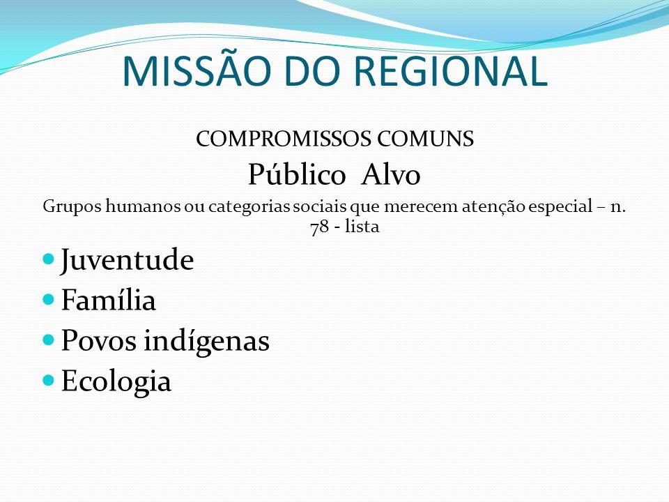 MISSÃO DO REGIONAL COMPROMISSOS COMUNS Público Alvo Grupos humanos ou categorias sociais que merecem atenção especial – n. 78 - lista Juventude Famíli