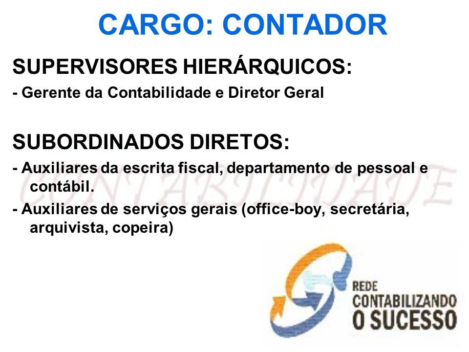 CARGO: CONTADOR SUPERVISORES HIERÁRQUICOS: - Gerente da Contabilidade e Diretor Geral SUBORDINADOS DIRETOS: - Auxiliares da escrita fiscal, departamen