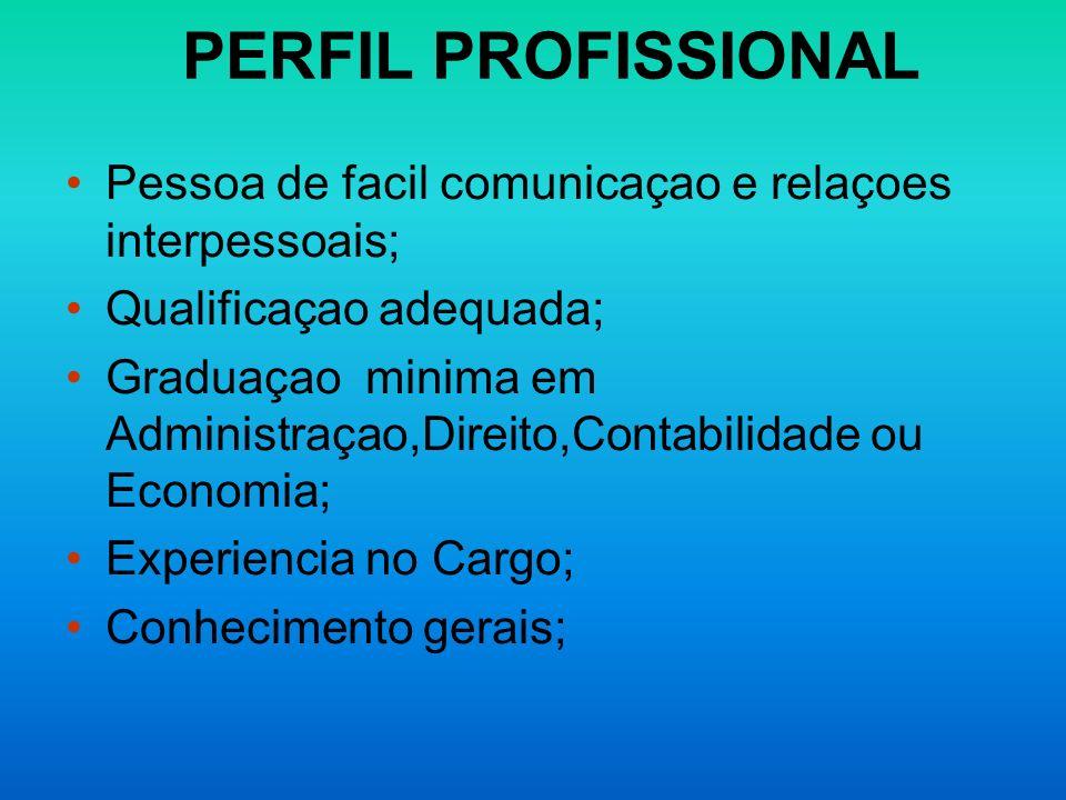PERFIL PROFISSIONAL Pessoa de facil comunicaçao e relaçoes interpessoais; Qualificaçao adequada; Graduaçao minima em Administraçao,Direito,Contabilida