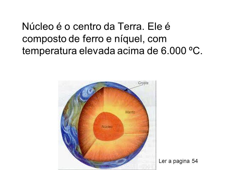 Núcleo é o centro da Terra. Ele é composto de ferro e níquel, com temperatura elevada acima de 6.000 ºC. Ler a pagina 54