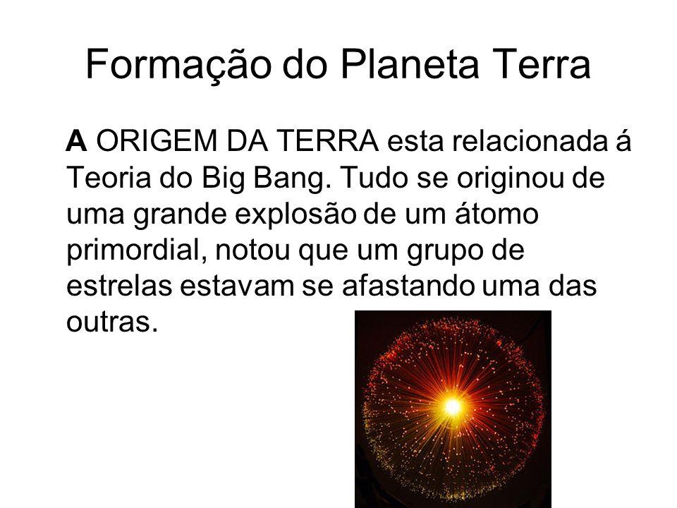 Formação do Planeta Terra A ORIGEM DA TERRA esta relacionada á Teoria do Big Bang. Tudo se originou de uma grande explosão de um átomo primordial, not