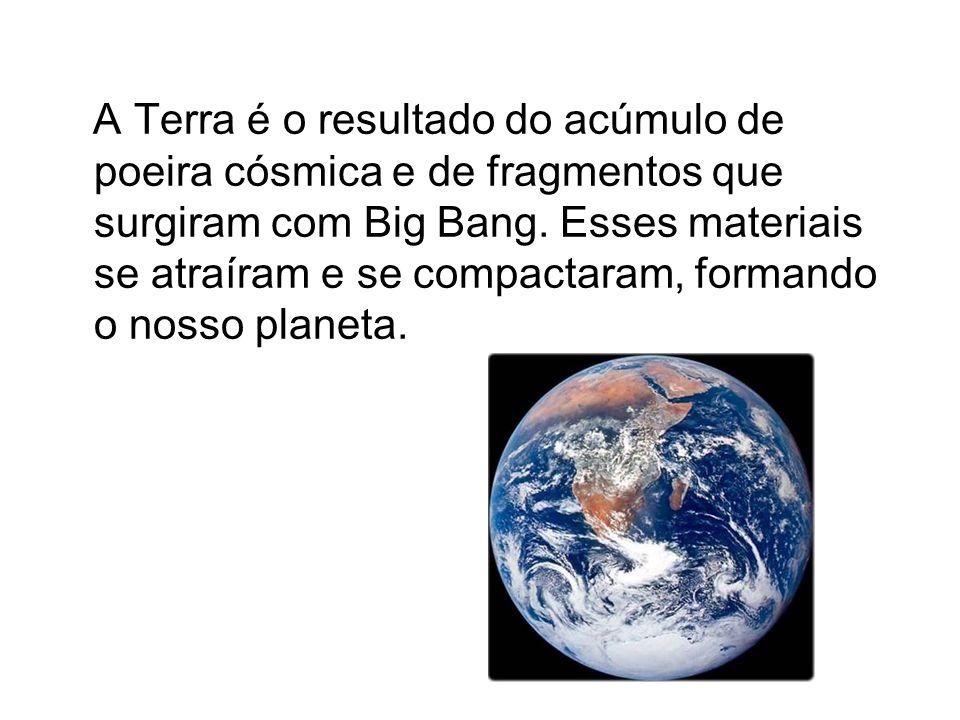 A Terra é o resultado do acúmulo de poeira cósmica e de fragmentos que surgiram com Big Bang. Esses materiais se atraíram e se compactaram, formando o