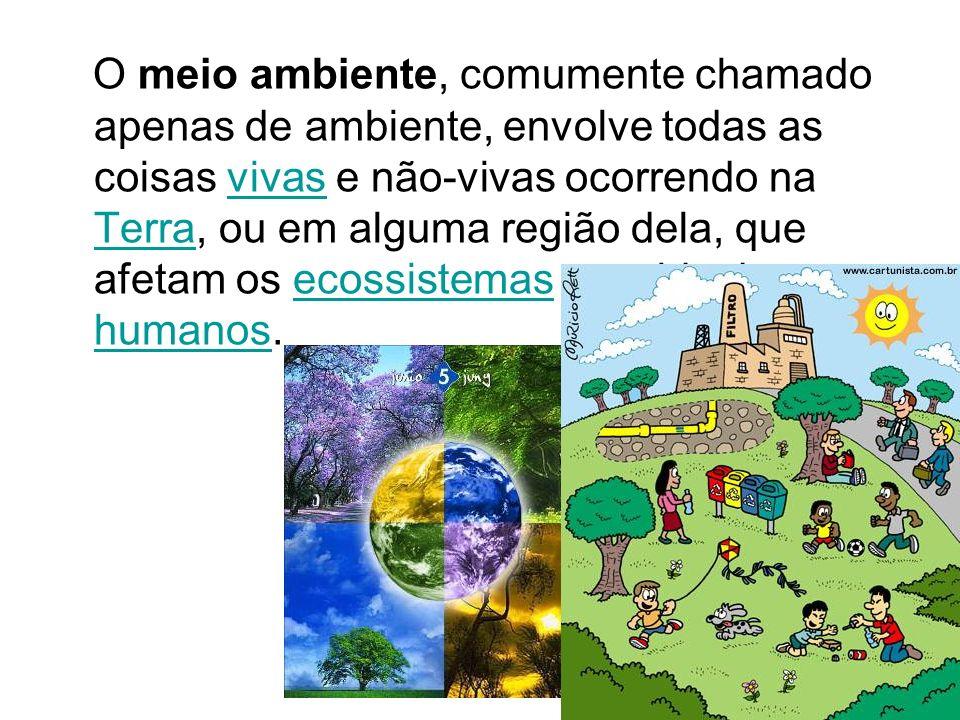 O meio ambiente, comumente chamado apenas de ambiente, envolve todas as coisas vivas e não-vivas ocorrendo na Terra, ou em alguma região dela, que afe
