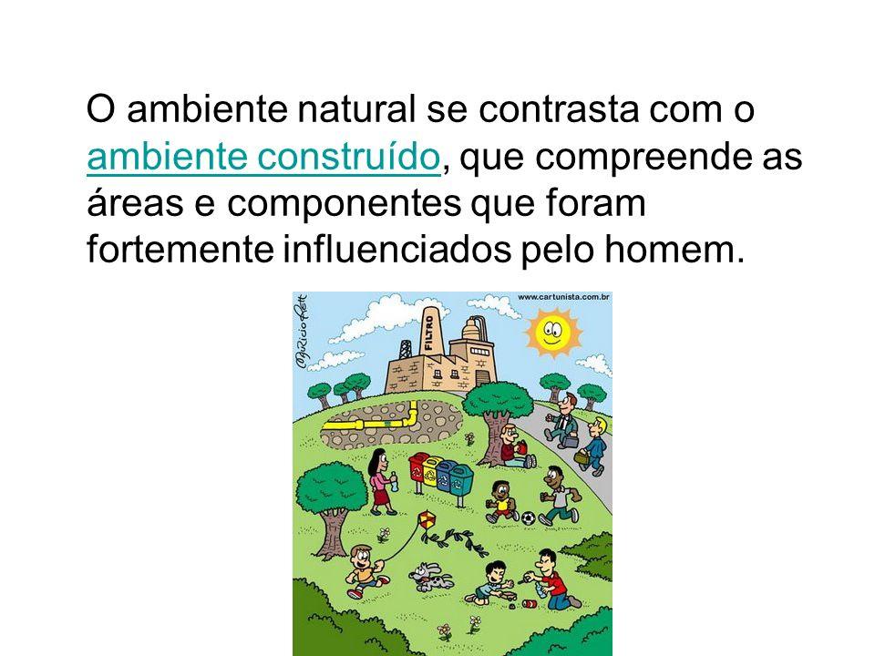 O ambiente natural se contrasta com o ambiente construído, que compreende as áreas e componentes que foram fortemente influenciados pelo homem. ambien