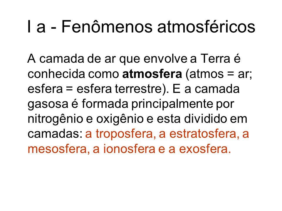 I a - Fenômenos atmosféricos A camada de ar que envolve a Terra é conhecida como atmosfera (atmos = ar; esfera = esfera terrestre). E a camada gasosa