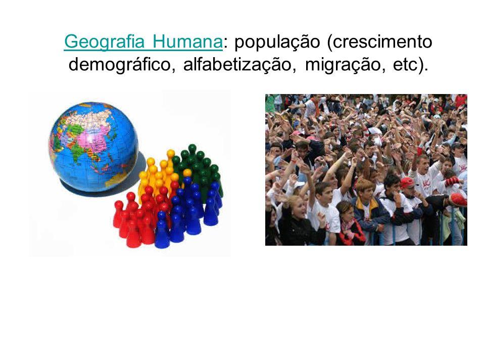 Geografia HumanaGeografia Humana: população (crescimento demográfico, alfabetização, migração, etc).