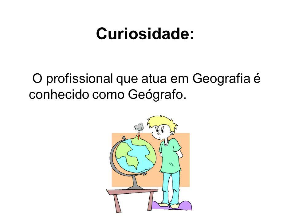 Curiosidade: O profissional que atua em Geografia é conhecido como Geógrafo.