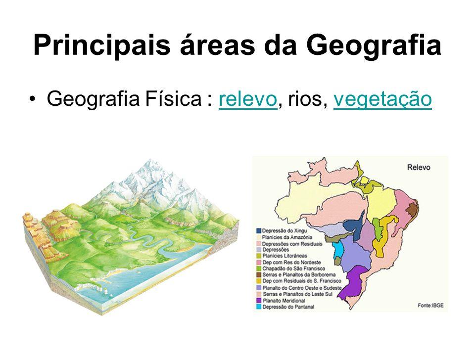 Principais áreas da Geografia Geografia Física : relevo, rios, vegetaçãorelevovegetação