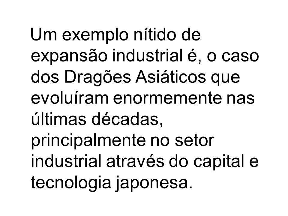 Um exemplo nítido de expansão industrial é, o caso dos Dragões Asiáticos que evoluíram enormemente nas últimas décadas, principalmente no setor indust