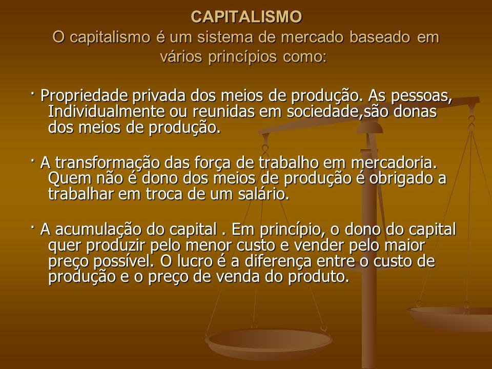 CAPITALISMO O capitalismo é um sistema de mercado baseado em vários princípios como: CAPITALISMO O capitalismo é um sistema de mercado baseado em vári