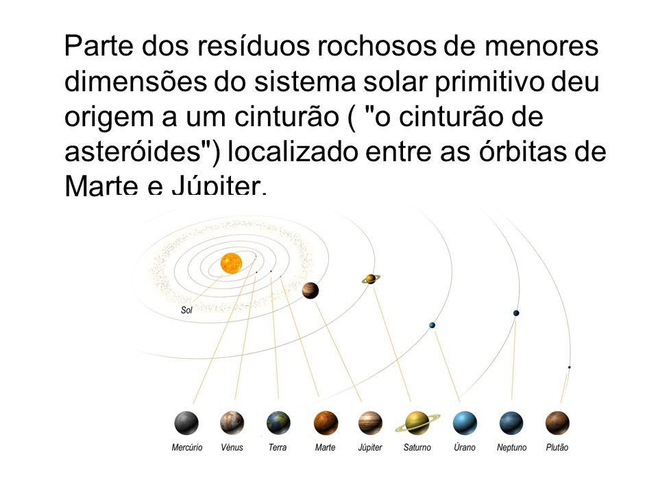Parte dos resíduos rochosos de menores dimensões do sistema solar primitivo deu origem a um cinturão ( o cinturão de asteróides ) localizado entre as órbitas de Marte e Júpiter.