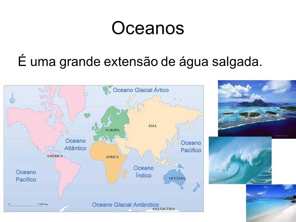 Oceanos É uma grande extensão de água salgada.