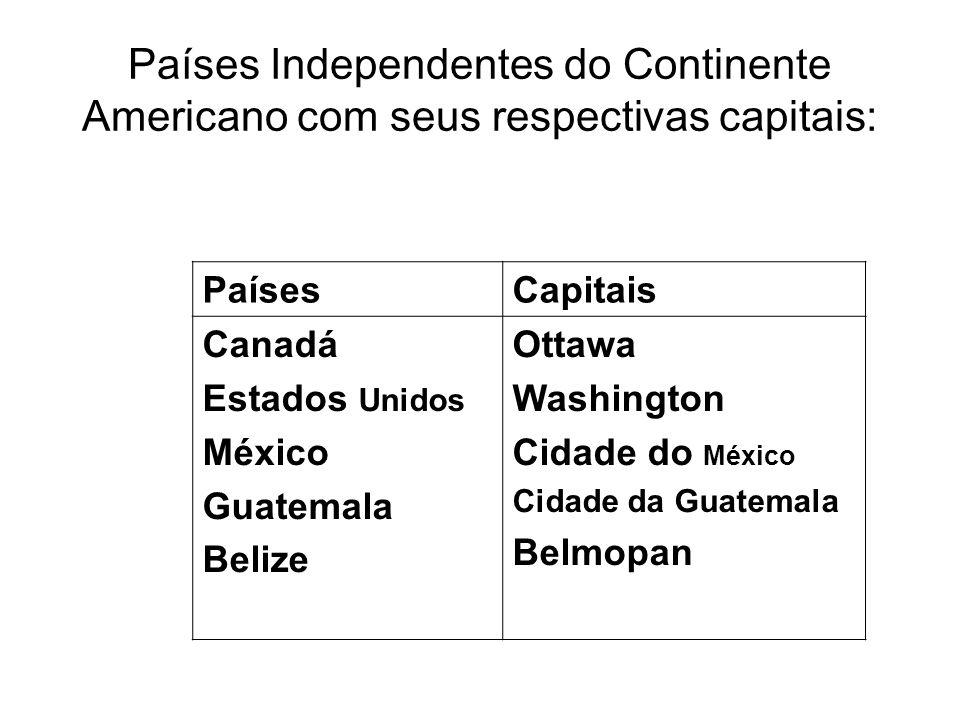 Países Independentes do Continente Americano com seus respectivas capitais: PaísesCapitais Canadá Estados Unidos México Guatemala Belize Ottawa Washin