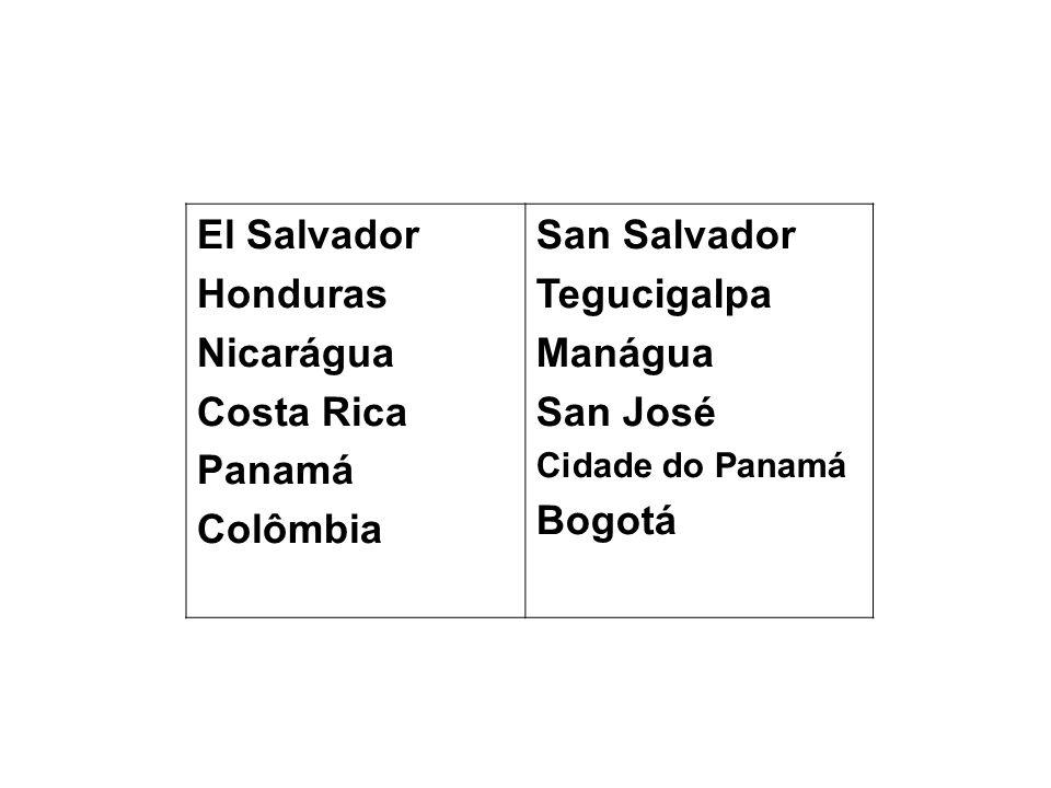 El Salvador Honduras Nicarágua Costa Rica Panamá Colômbia San Salvador Tegucigalpa Manágua San José Cidade do Panamá Bogotá