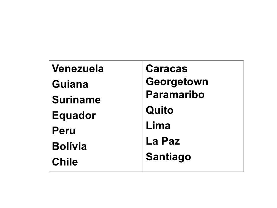 Venezuela Guiana Suriname Equador Peru Bolívia Chile Caracas Georgetown Paramaribo Quito Lima La Paz Santiago