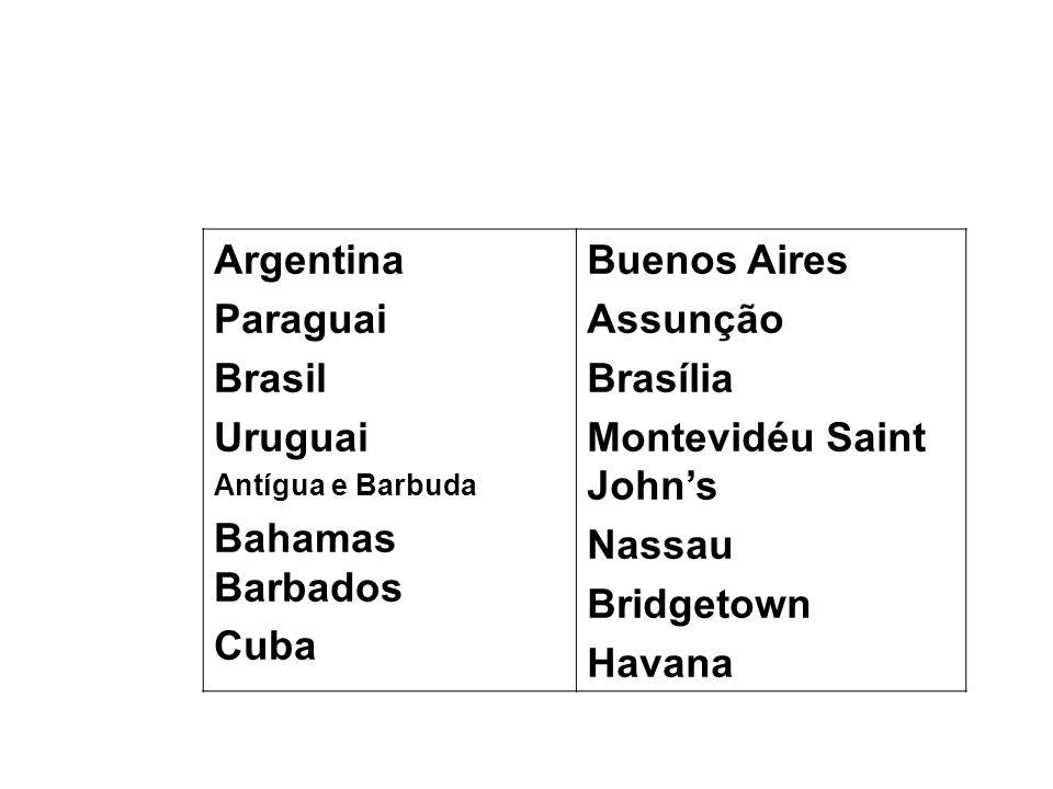 Argentina Paraguai Brasil Uruguai Antígua e Barbuda Bahamas Barbados Cuba Buenos Aires Assunção Brasília Montevidéu Saint Johns Nassau Bridgetown Hava
