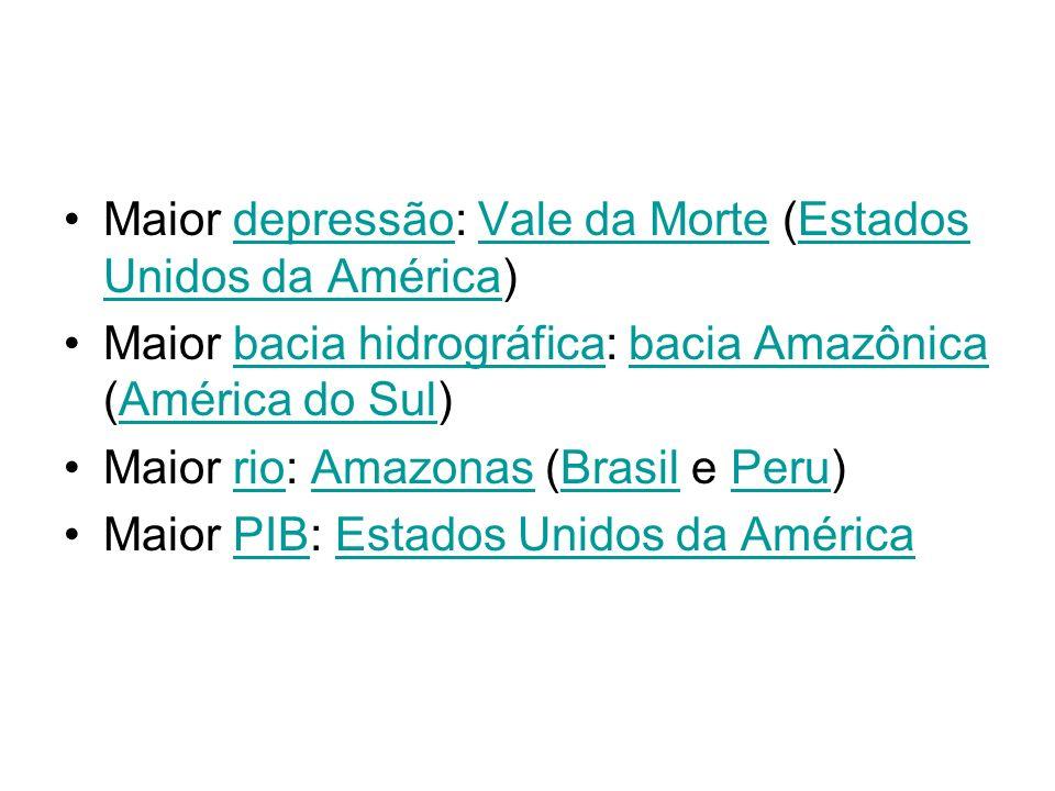 Maior depressão: Vale da Morte (Estados Unidos da América)depressãoVale da MorteEstados Unidos da América Maior bacia hidrográfica: bacia Amazônica (A