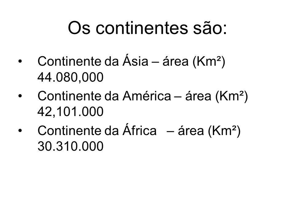Os continentes são: Continente da Ásia – área (Km²) 44.080,000 Continente da América – área (Km²) 42,101.000 Continente da África – área (Km²) 30.310.