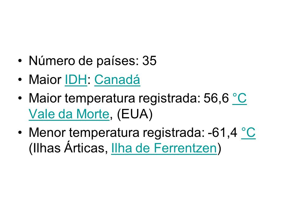 Número de países: 35 Maior IDH: CanadáIDHCanadá Maior temperatura registrada: 56,6 °C Vale da Morte, (EUA)°C Vale da Morte Menor temperatura registrad