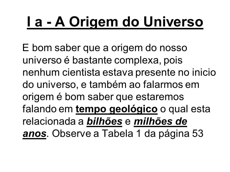 I a - A Origem do Universo E bom saber que a origem do nosso universo é bastante complexa, pois nenhum cientista estava presente no inicio do universo