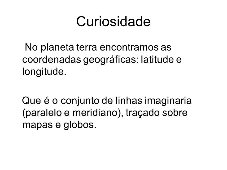 Curiosidade No planeta terra encontramos as coordenadas geográficas: latitude e longitude. Que é o conjunto de linhas imaginaria (paralelo e meridiano