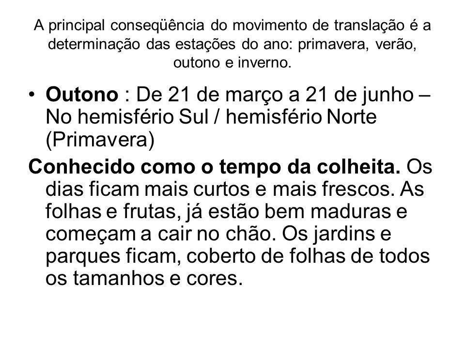 A principal conseqüência do movimento de translação é a determinação das estações do ano: primavera, verão, outono e inverno. Outono : De 21 de março