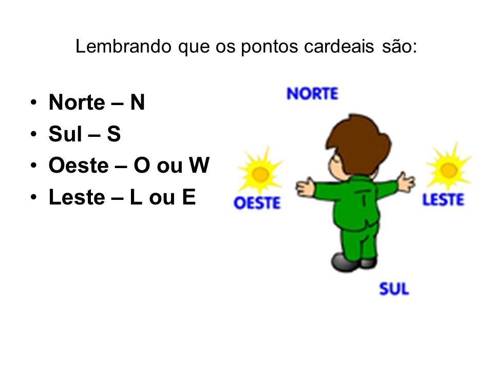 Lembrando que os pontos cardeais são: Norte – N Sul – S Oeste – O ou W Leste – L ou E