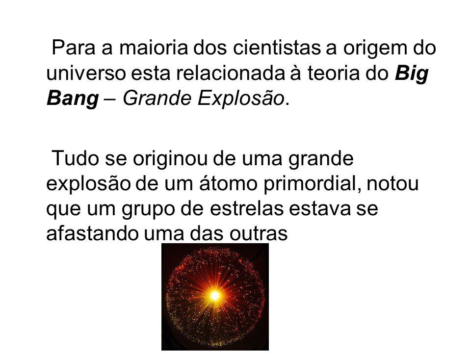 Para a maioria dos cientistas a origem do universo esta relacionada à teoria do Big Bang – Grande Explosão. Tudo se originou de uma grande explosão de