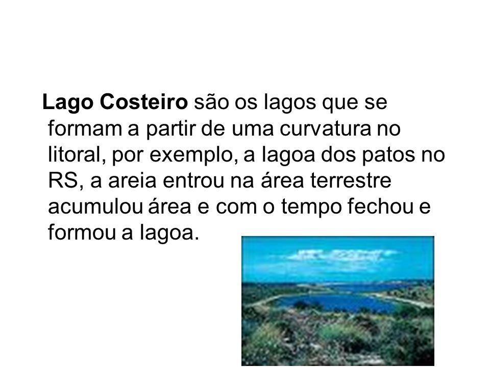Lago Costeiro são os lagos que se formam a partir de uma curvatura no litoral, por exemplo, a lagoa dos patos no RS, a areia entrou na área terrestre