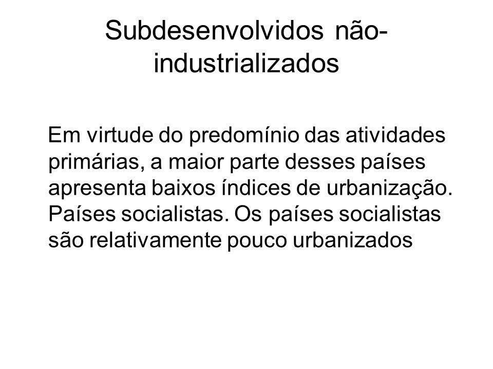 Subdesenvolvidos não- industrializados Em virtude do predomínio das atividades primárias, a maior parte desses países apresenta baixos índices de urba