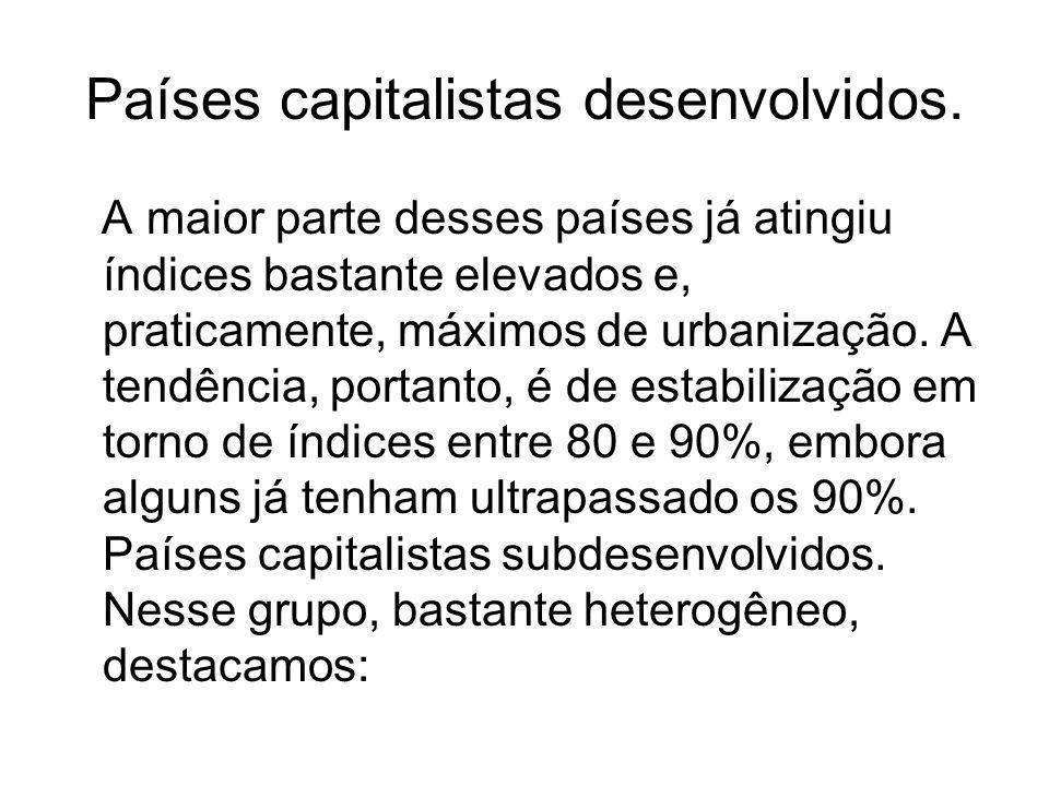 Países capitalistas desenvolvidos. A maior parte desses países já atingiu índices bastante elevados e, praticamente, máximos de urbanização. A tendênc