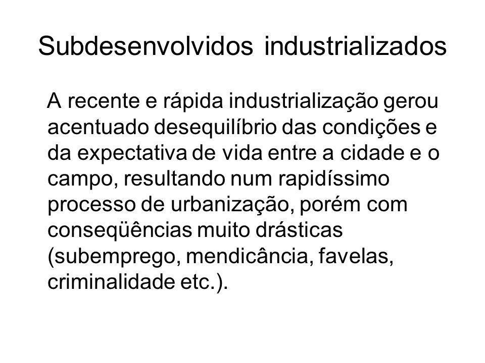 Subdesenvolvidos industrializados A recente e rápida industrialização gerou acentuado desequilíbrio das condições e da expectativa de vida entre a cid