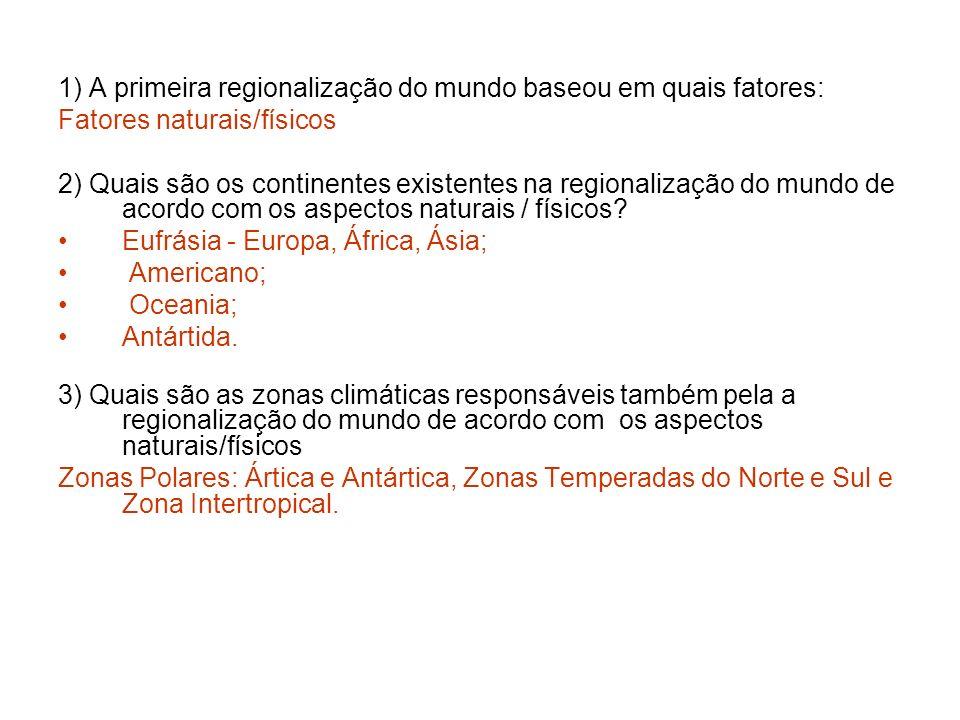 1) A primeira regionalização do mundo baseou em quais fatores: Fatores naturais/físicos 2) Quais são os continentes existentes na regionalização do mu