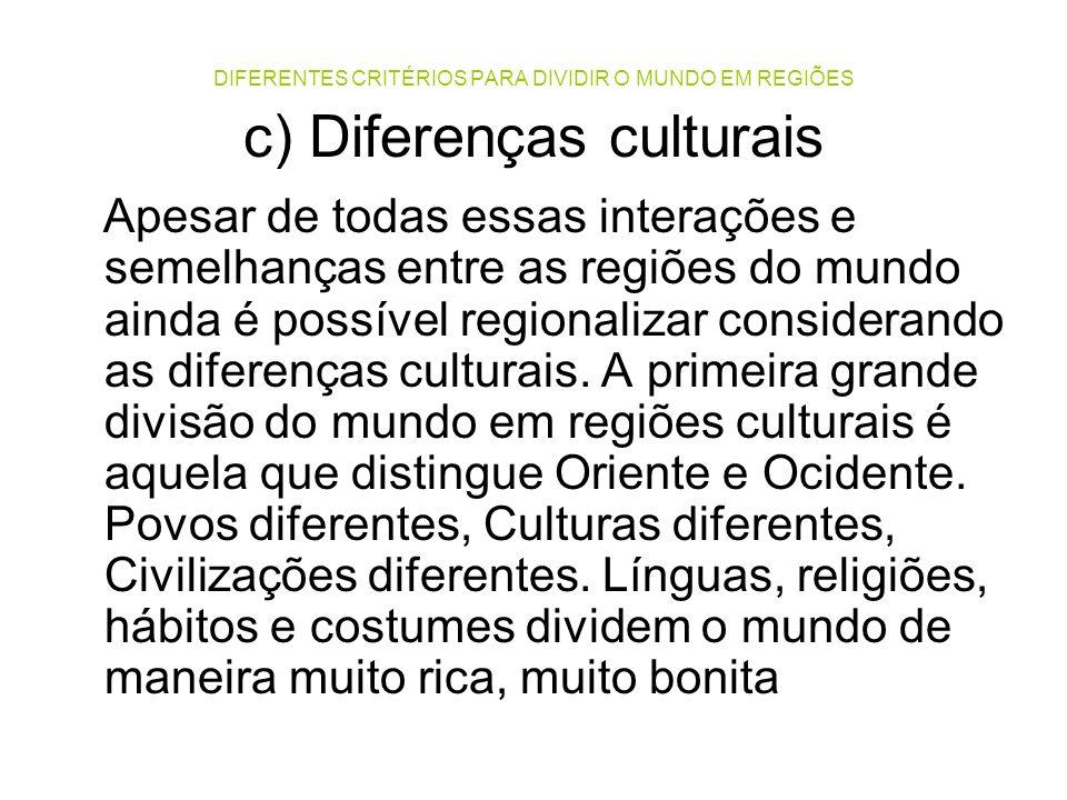 DIFERENTES CRITÉRIOS PARA DIVIDIR O MUNDO EM REGIÕES c) Diferenças culturais Apesar de todas essas interações e semelhanças entre as regiões do mundo