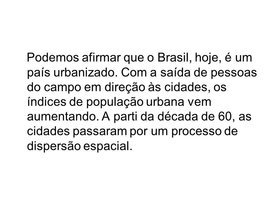 Podemos afirmar que o Brasil, hoje, é um país urbanizado. Com a saída de pessoas do campo em direção às cidades, os índices de população urbana vem au