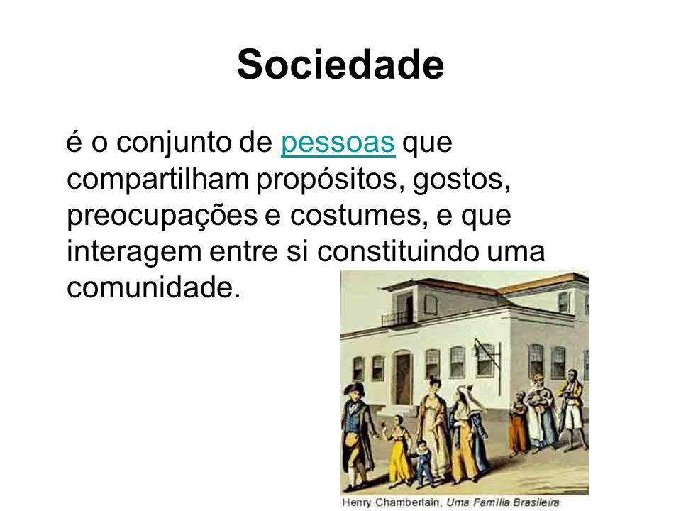 Sociedade é o conjunto de pessoas que compartilham propósitos, gostos, preocupações e costumes, e que interagem entre si constituindo uma comunidade.pessoas