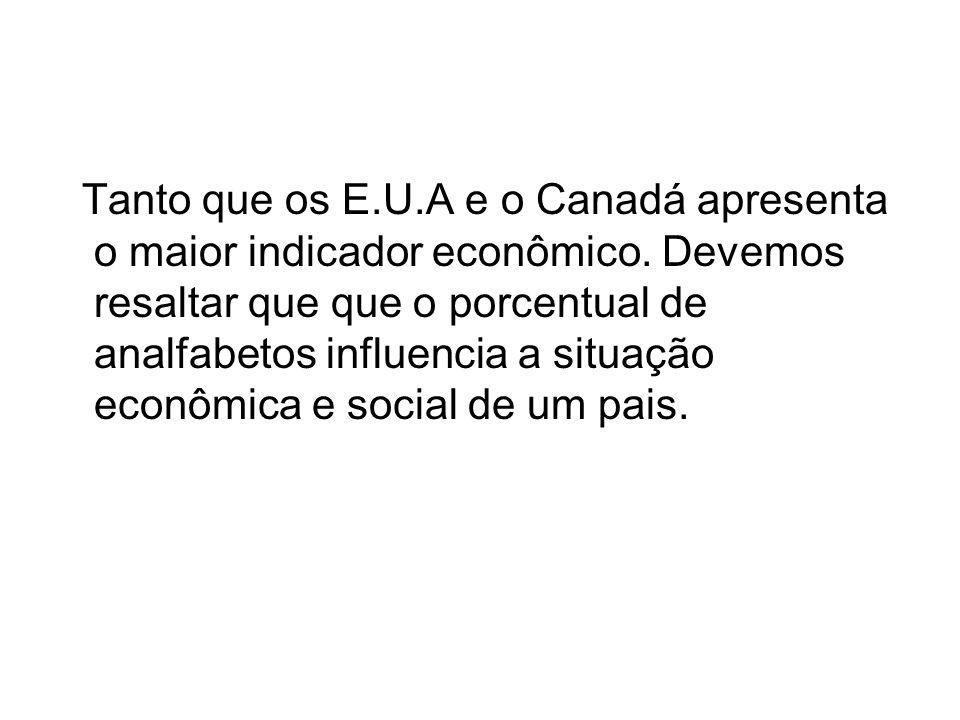 Tanto que os E.U.A e o Canadá apresenta o maior indicador econômico. Devemos resaltar que que o porcentual de analfabetos influencia a situação econôm