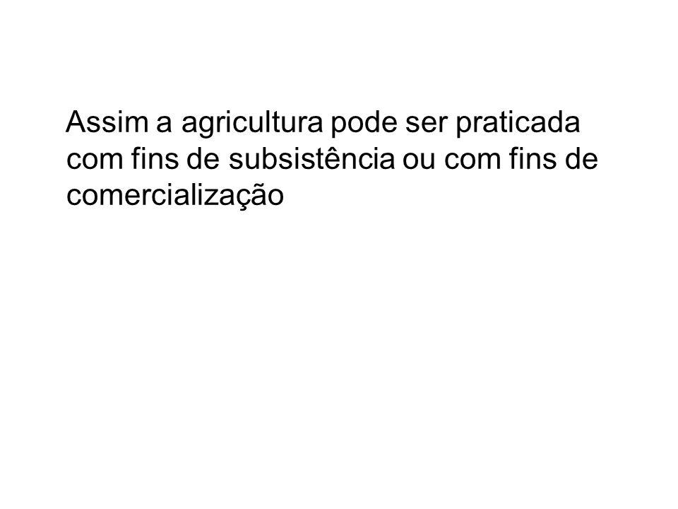 Assim a agricultura pode ser praticada com fins de subsistência ou com fins de comercialização