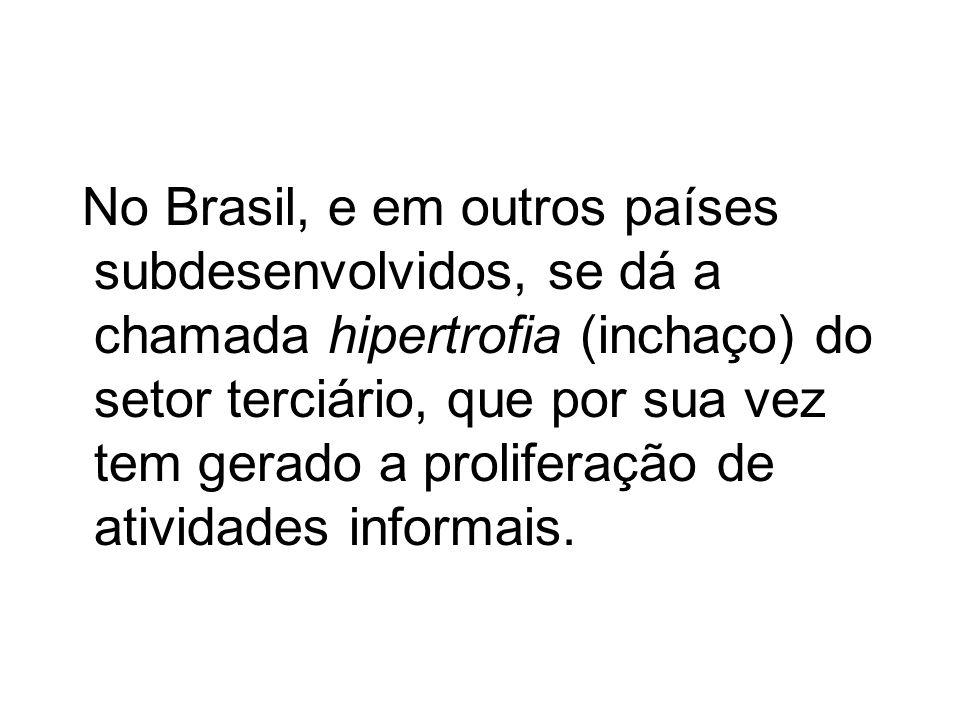No Brasil, e em outros países subdesenvolvidos, se dá a chamada hipertrofia (inchaço) do setor terciário, que por sua vez tem gerado a proliferação de