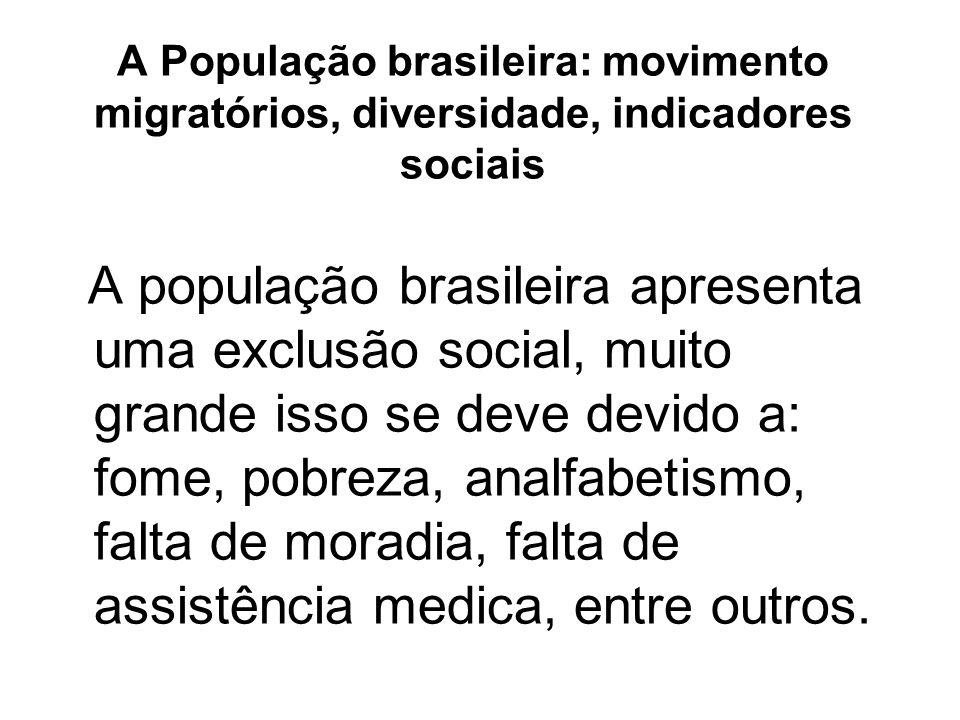 A População brasileira: movimento migratórios, diversidade, indicadores sociais A população brasileira apresenta uma exclusão social, muito grande iss