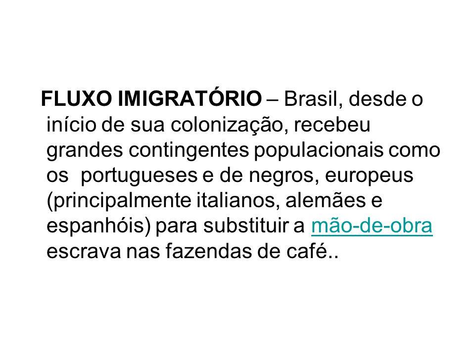 FLUXO IMIGRATÓRIO – Brasil, desde o início de sua colonização, recebeu grandes contingentes populacionais como os portugueses e de negros, europeus (p