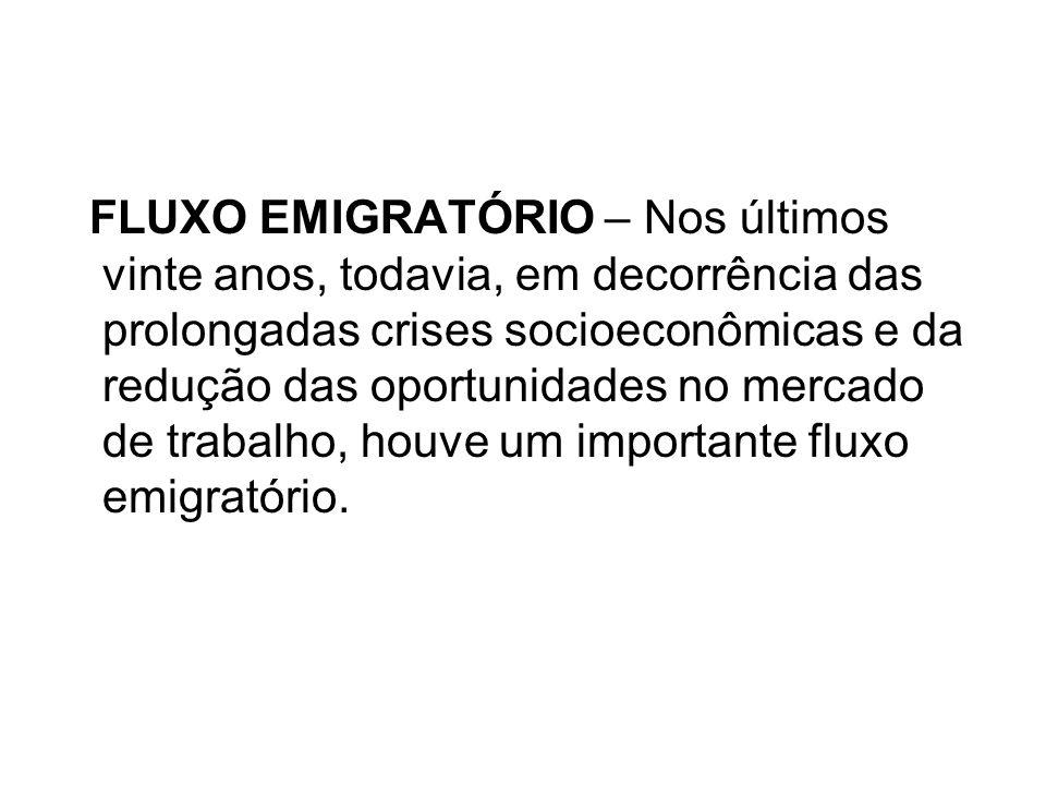 FLUXO EMIGRATÓRIO – Nos últimos vinte anos, todavia, em decorrência das prolongadas crises socioeconômicas e da redução das oportunidades no mercado d