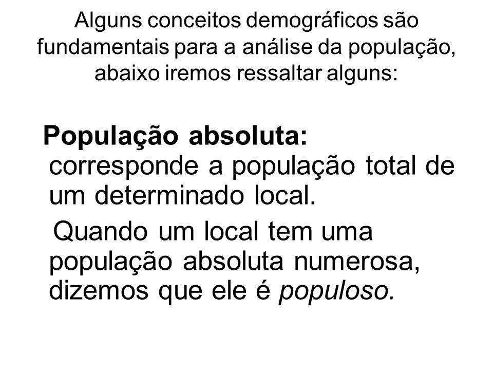 Alguns conceitos demográficos são fundamentais para a análise da população, abaixo iremos ressaltar alguns: População absoluta: corresponde a populaçã