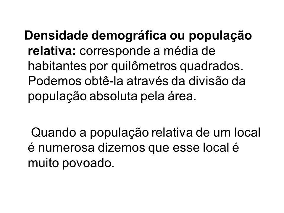 Densidade demográfica ou população relativa: corresponde a média de habitantes por quilômetros quadrados. Podemos obtê-la através da divisão da popula